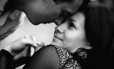 woman romantically staring at man