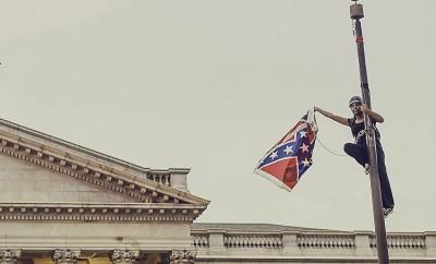 Bree Newsome, atop a South Carolina flagpole