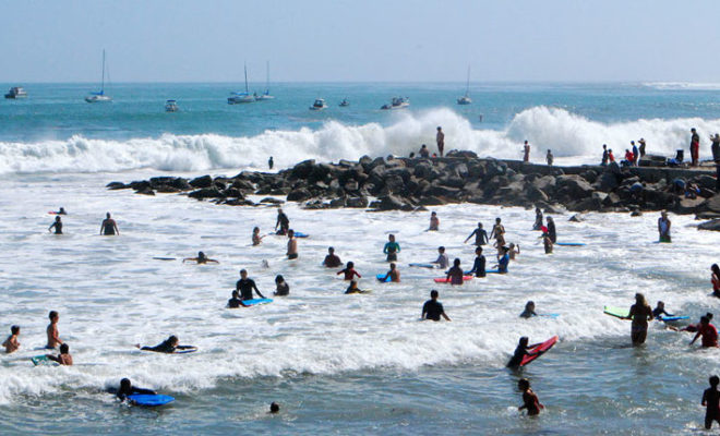 Surfers at Capitola Beach