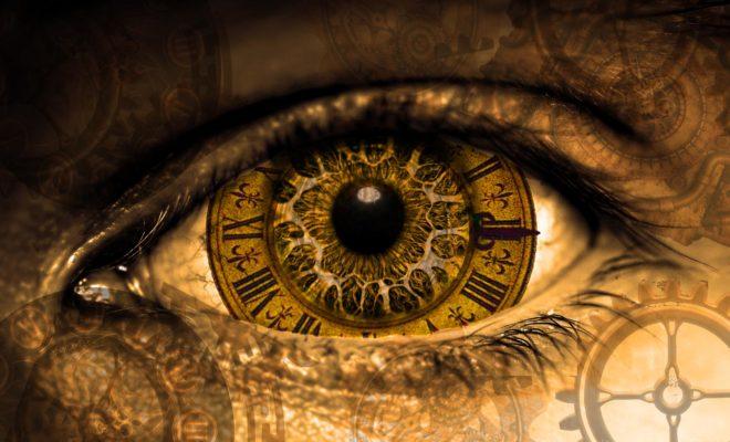clock reflecting in the eye