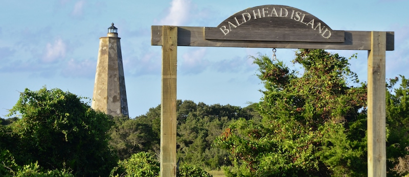 Old Baldy Lighthouse and Bald Head Island Sign