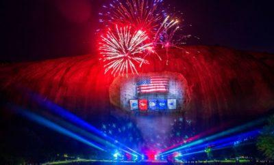 Fireworks show at Stone Mountain